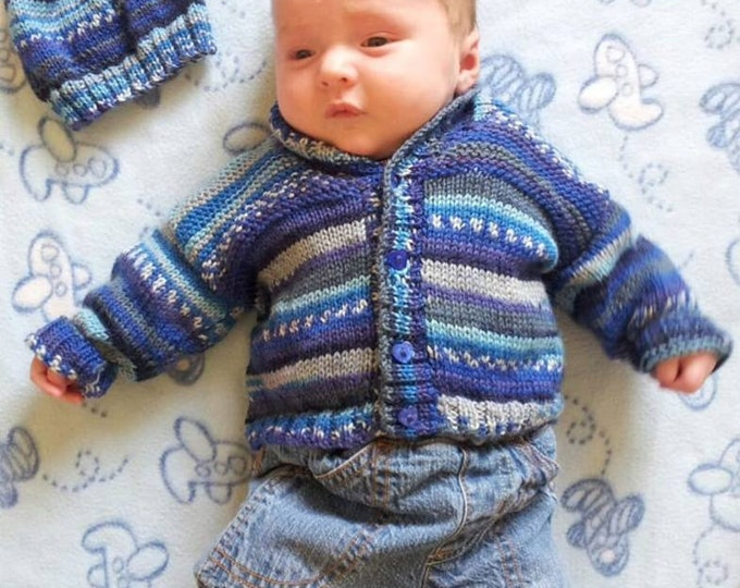 Knitting Pattern for self-striping baby jacket, Child's cardigan and hat, Baby jacket and hat, Double knitting pattern, pattern download