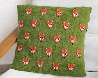 Knitting Pattern - Fox Cushion using double knitting wool, Pillow with Foxes' Faces and stripes, Home Decoration, Digital Knitting Patterns