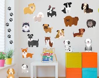 Wall Sticker Wall Decal Dog with Name Wall Sticker WALL DECO Pet Hallway 1086W