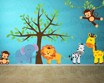 Captivating Jungle Wall Decals   Jungle Animal Decals   Kids Room Decals   Jungle  Nursery Decals