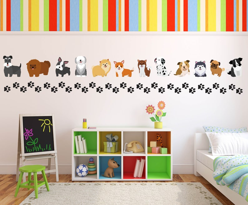 dog theme wall decals pet wall decals dog wall decals dog   etsy
