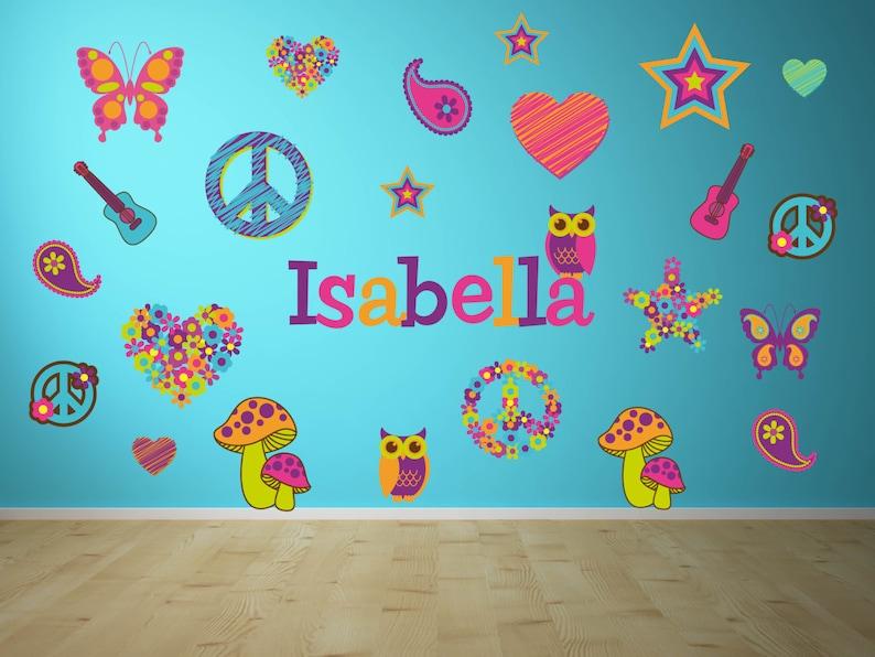 Owl Wall Decal Girl Room Wall Art Peace Sign Wall Art Flower Wall Decal Girl Room Wall Decal Name Wall Decal Heart Wall Decal