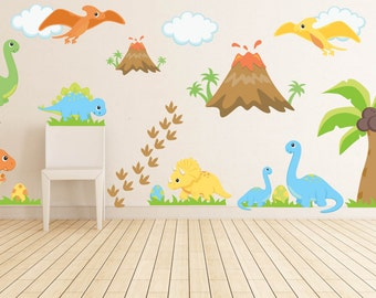 Kids Room Wall Decals - Dinosaur Wall Decal - Dinosaur Nursery Decor - Dinosaur Theme Nursery - Dinosaur Wall Decals - Boys Nursery Decals