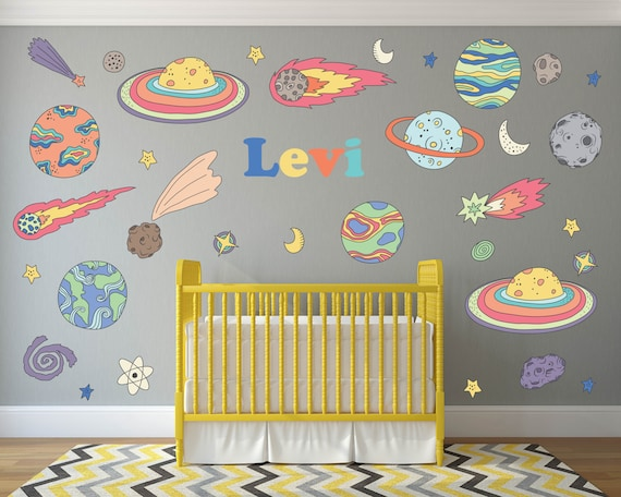 outer space nursery wall decals personalized name wall | etsy