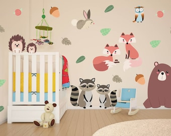 mini woodland animal wall decals forest animals raccoon. Black Bedroom Furniture Sets. Home Design Ideas