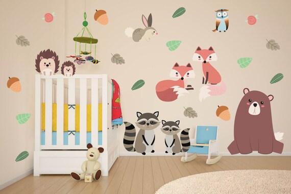 woodland animals wall decals animal nursery decor woodland etsy. Black Bedroom Furniture Sets. Home Design Ideas