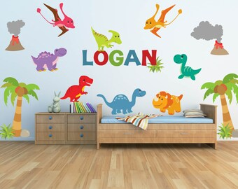 Dinosaur Wall Decal for Kids Bedroom Personalized Name