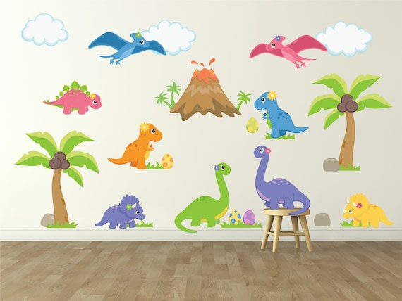 Dinosaur Wall Decal for Kids Bedroom - Girls Dinosaur Room - Dinosaur Wall  Decal - Girls Room Wall Decal