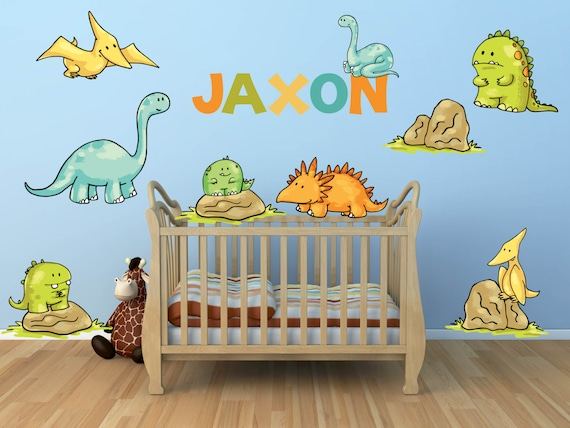 Dinosaur Wall Decal for Kids Bedroom Personalized Name - Dinosaur Nursery  Decals - Dinosaur Theme Kids Room - Boys Room Wall Decals