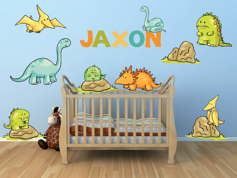Dinosaur Wall Decal For Kids Bedroom Personalized Name   Etsy