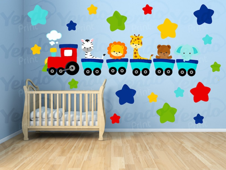 wall decals for kids bedroom animal train wall decal | etsy