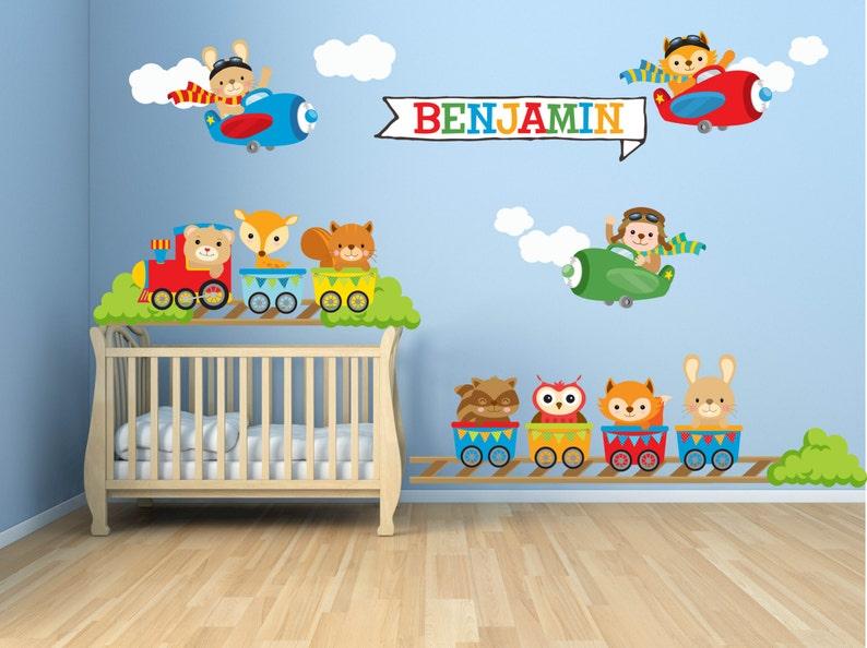 Kids Bedroom Wall Decals Nursery Wall Decals Animal Train   Etsy