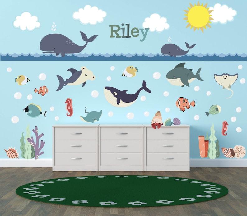 ocean wall decals ocean theme nursery decor ocean theme | etsy