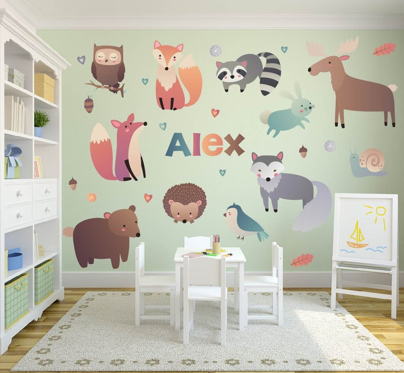Woodland Theme Wall Decals Nursery Wall Decals Name Wall Decals Woodland Animal Wall Decals Woodland Nursery Decor