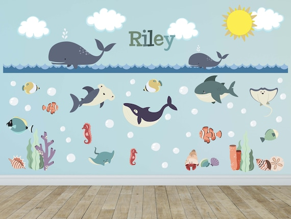 Ocean Animal Whale Fish Wall Decals Kids Wall Stickers Peel Etsy