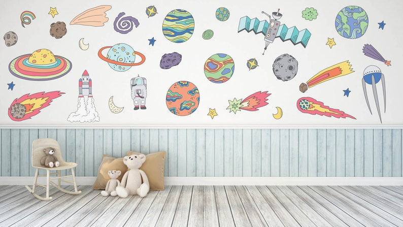 outer space wall decal outer space room decor outer space   etsy