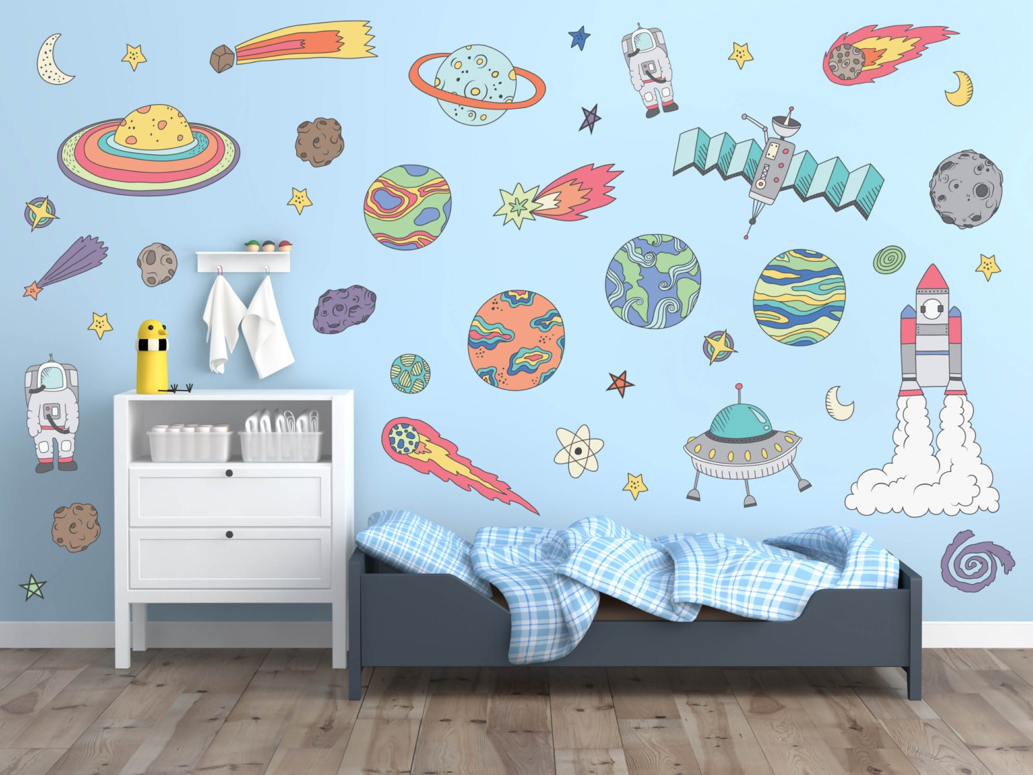 Outer space wall decals outer space nursery decor outer etsy for Wall decor outer space