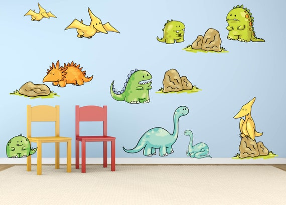 Dinosaur Wall Decal  Boys Room Wall Decals   Dinosaur Theme Nursery   Dinosaur  Kids Room Decor   Kids Room Wall Decals