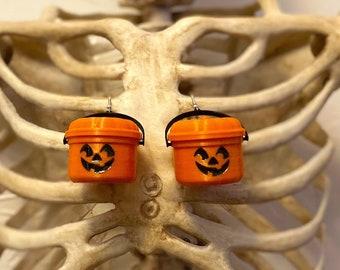 McPunk'n Halloween Bucket Earrings Halloween Spooky Glow in the dark Jack O Lantern Pumpkin Nostalgia