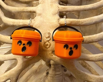 McBoo Halloween Bucket Earrings Halloween Spooky Glow in the dark Jack O Lantern Pumpkin Nostalgia Ghost