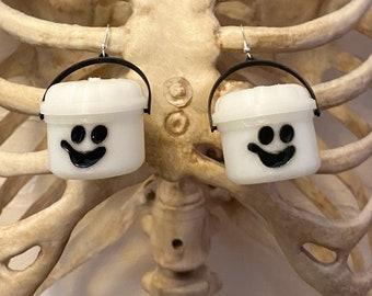 McGhost Halloween Bucket Earrings Halloween Nostalgia Glow In The Dark Ghost Spooky