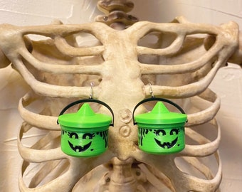 McWitch Halloween Bucket Earrings Halloween Spooky Glow in the dark Jack O Lantern Pumpkin Nostalgia Witch