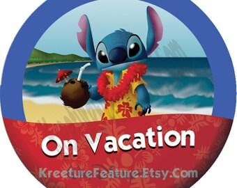 "Stitch on Vacation | 3"" Walt Disney World Celebration Button |  Lilo and Stitch"