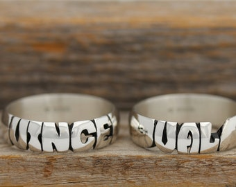 Couples Hand Carved Solid Silver Name Ring