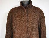 Vintage ASTRAKHAN FUR COAT , women 39 s medium length fur coat (171)