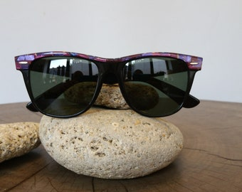 31d11c087 Vintage RAY-BAN WAYFARER 2 B&L Tortoiseshell Sunglasses Purple Mosaic ultra  rare .................. TheArtofReUSE