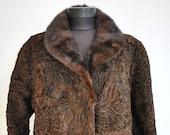 Vintage ASTRAKHAN FUR coat with MINK fur collar , full length fur coat (513)