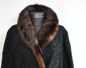 Vintage ASTRAKHAN FUR COAT with mink fur collar , full length fur coat (664)