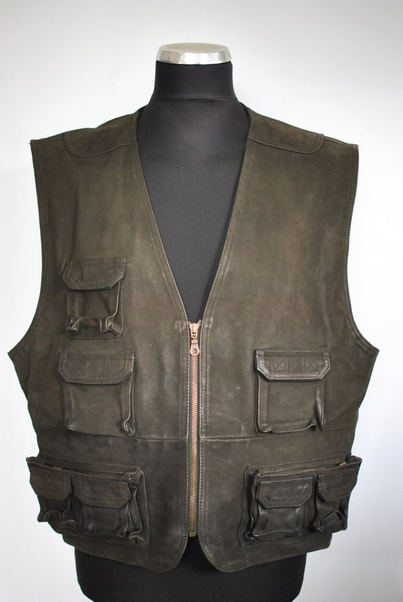 Vintage LEATHER VEST , men's leather vest ....(051