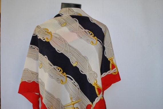 Vintage VALENTINO DESIGNER SILK scarf , hand rolle