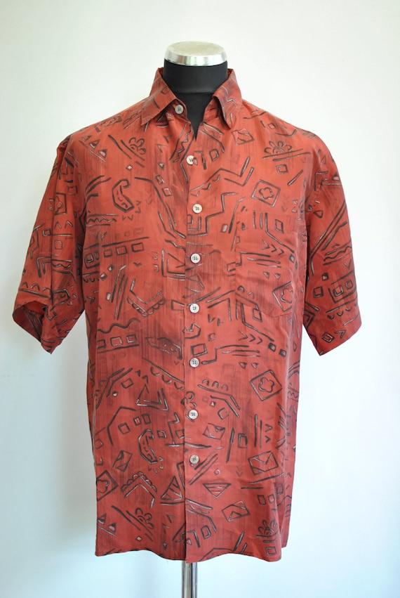 Vintage SILK SHIRT , men 's printed silk shirt , … - image 2