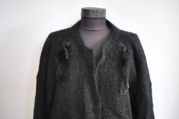 Vintage HANDMADE wool cardigan , women's cardigan
