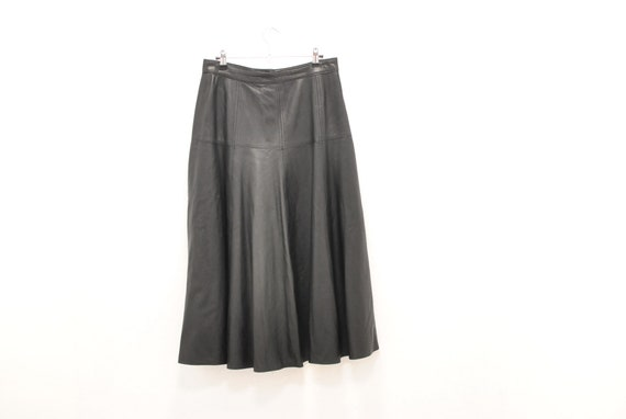 Vintage LEATHER SKIRT , women's black leather skir