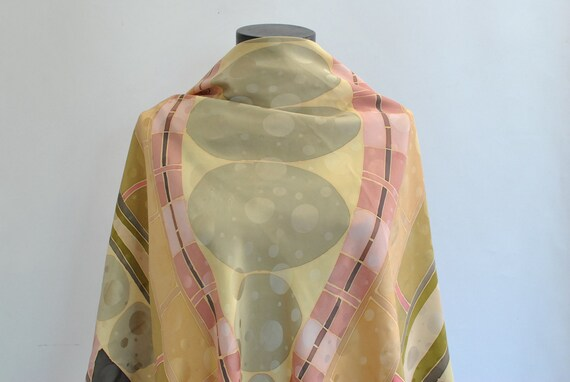 Vintage HANDMADE PRINTED SILK scarf , big size han