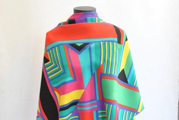 Vintage PRINTED SILK SCARF , big size silk scarf .
