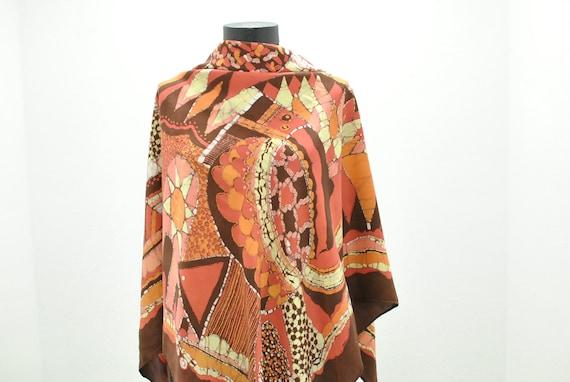 Vintage Printed silk scarf , big size scarf.......
