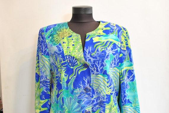 Vintage PRINTED SILK BLAZER , women's silk blazer.