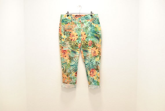 Vintage Summer printed pants , women's pants .....