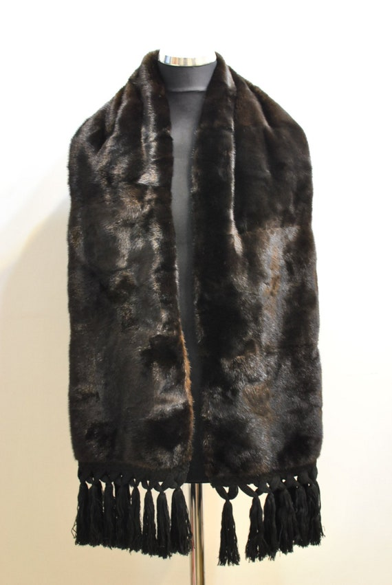 Vintage MINK FUR COLLAR , natural fur big shawl ..