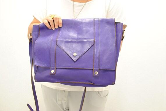 Vintage Messenger leather bag , laptop bag , docum