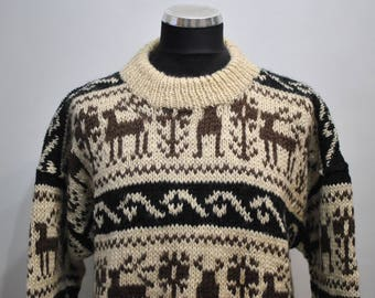 Vintage HANDMADE WOOL PULLOVER , hand knitted wool pullover ..........(073)
