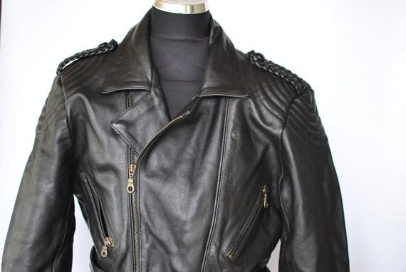 Vintage LEATHER MOTO JACKET , men's biker jacket ,