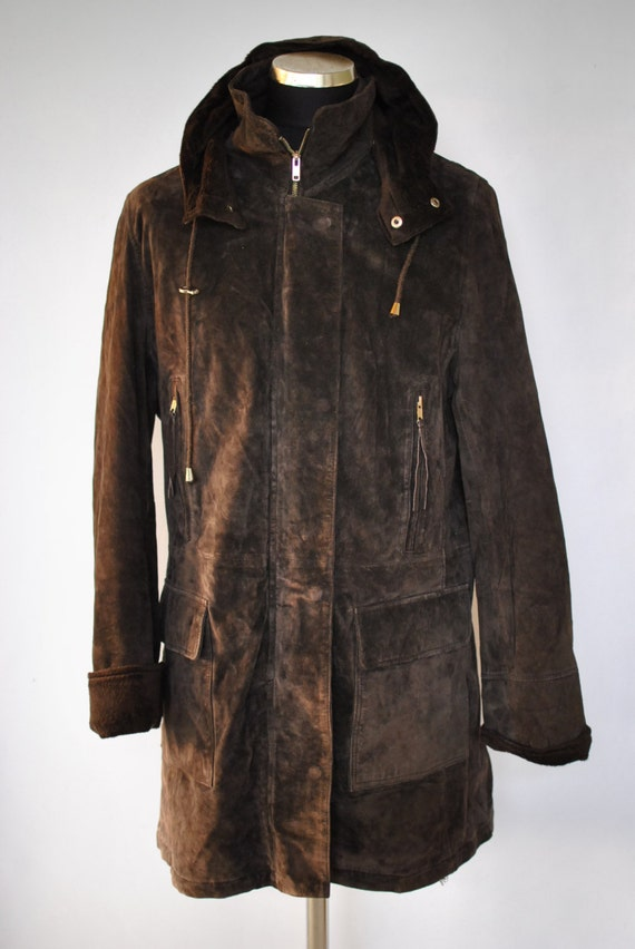 Vintage SUEDE LEATHER LONG jacket  , women leather