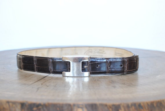 Vintage Fabiani Crocodile leather belt , men's lea