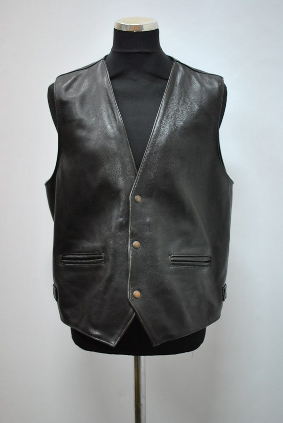 Vintage BIKER LEATHER VEST , men's leather vest ..