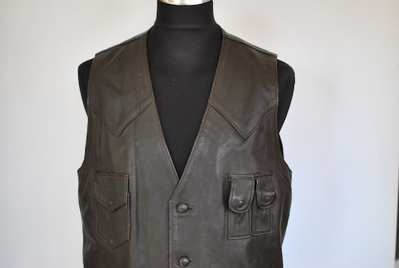 Vintage LEATHER VEST , men's leather vest.........
